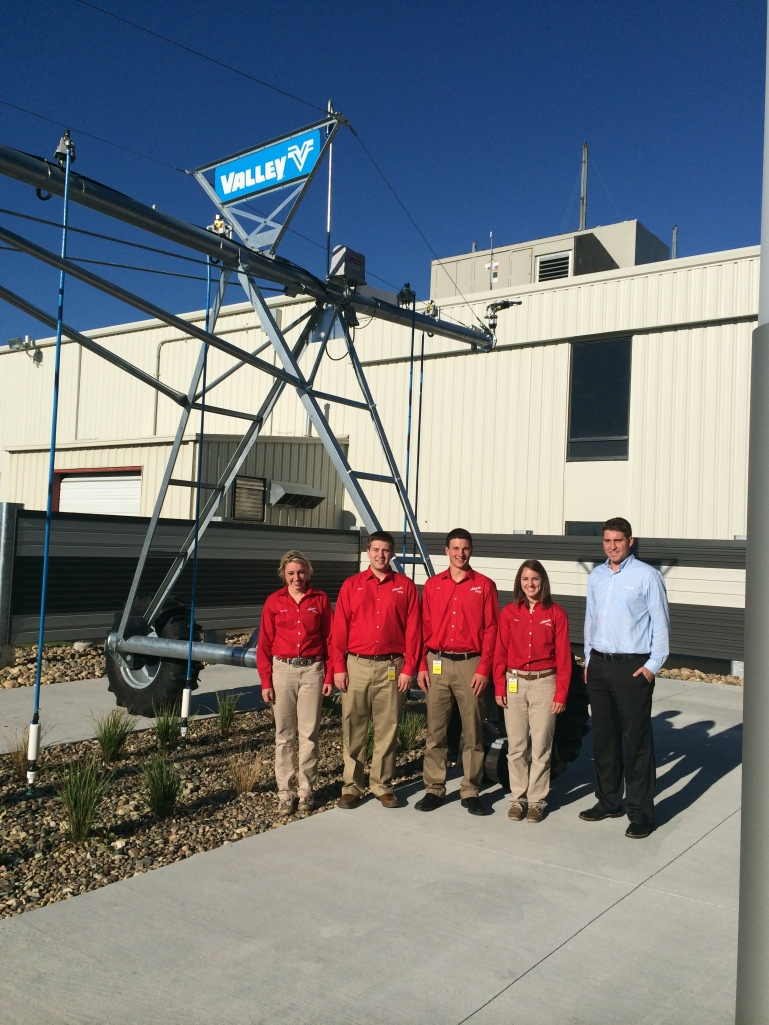 Amanda Lambrecht, Colton Flower, Ben Rice and Paige Dexter are pictured here with Cole Frederick during their recent visit with Valley Irrigation.
